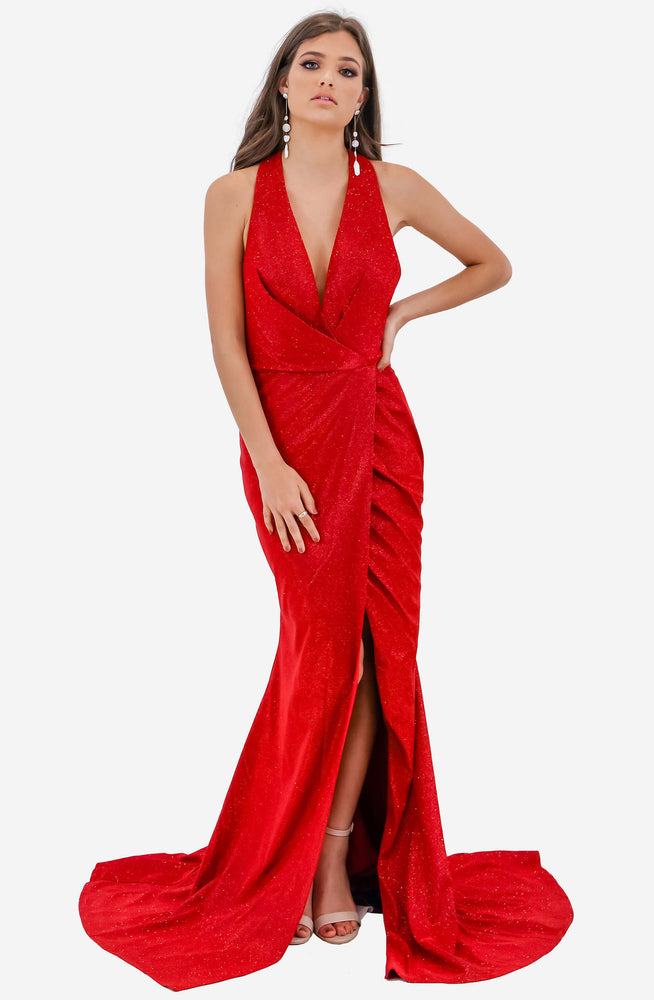 Draped V Neck Dress by Jadore (JX2108)