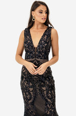 V Neck Black Sequin Gown by Jadore (JX1091)