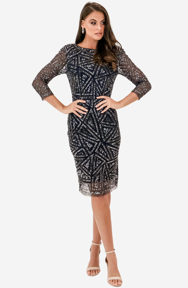 Bellisima Gunmetal Beaded Cocktail Dress by Montique