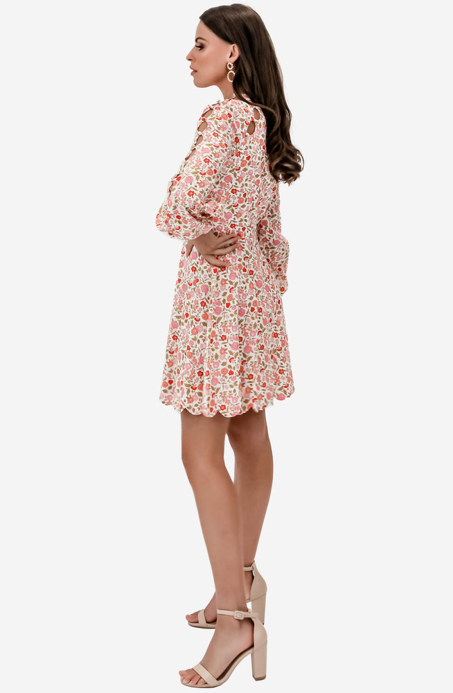 Goldie Scallop Coral Blossom Short Dress by Zimmermann