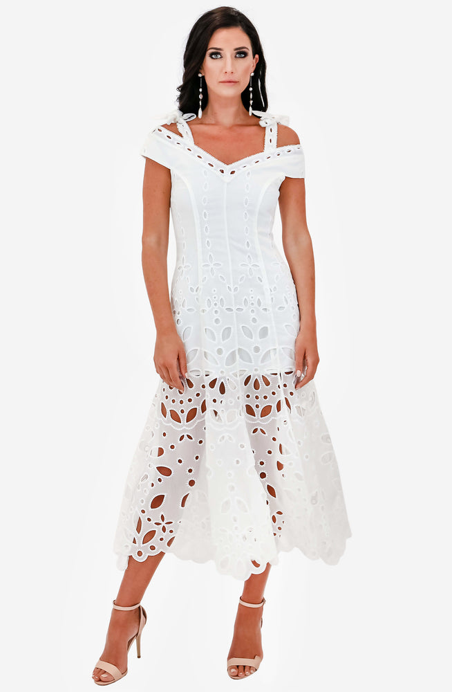 Baudelaire White Midi Dress Sample by Alice McCall