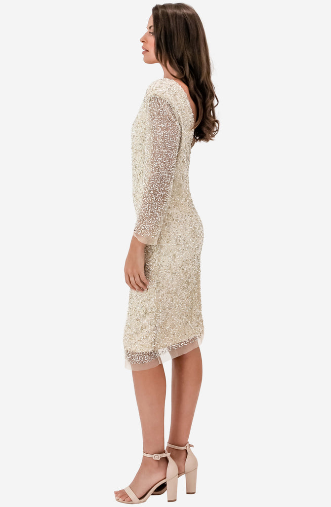Bella Beaded Mink Shift Dress by Montique