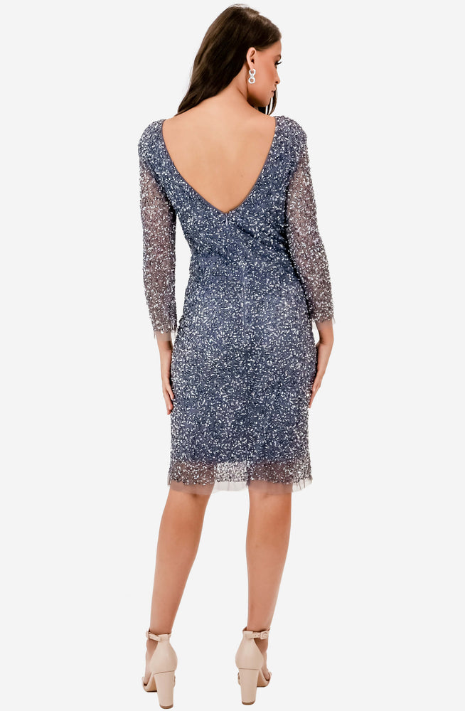 Bella Beaded Graphite Shift Dress by Montique