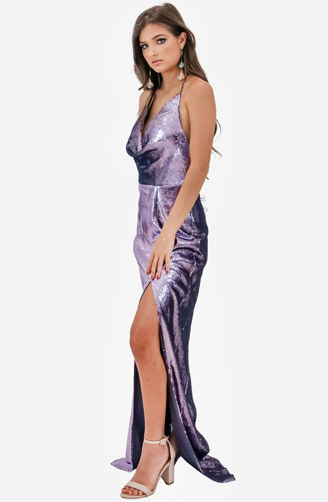 Cowl Neck Ice Smoke Sequin Gown by Jadore (JX2021)