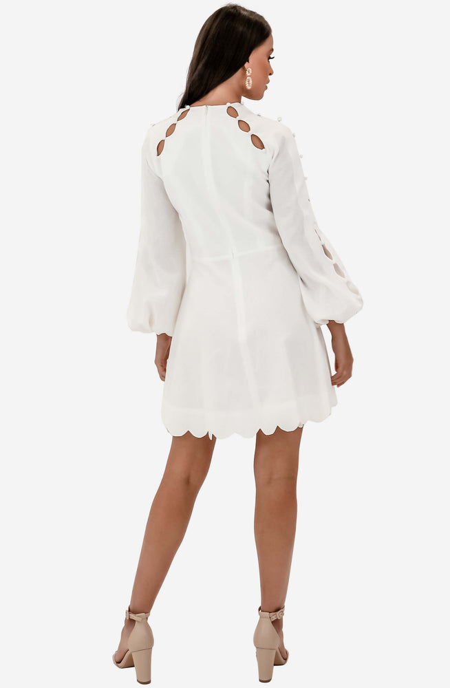 Goldie Scallop Ivory Short Dress by Zimmermann