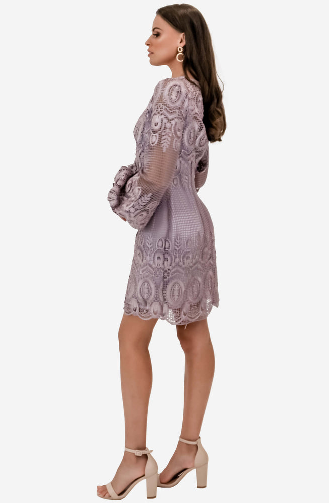 Embroidered Lilac Mini Dress by We Are Kindred