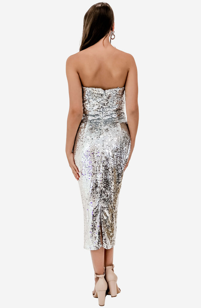 Irene Cowl Sequin Midi Dress by Bariano