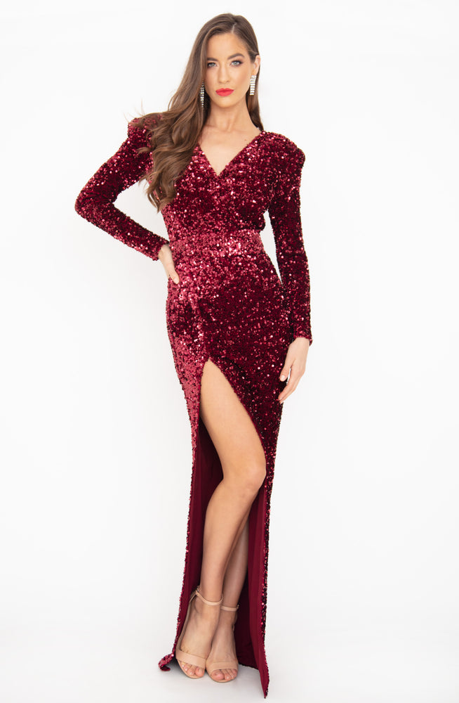 Fire Fox Sequin Gown by HSH