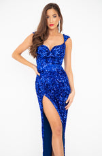 Royal Blue Sequin Gown by HSH