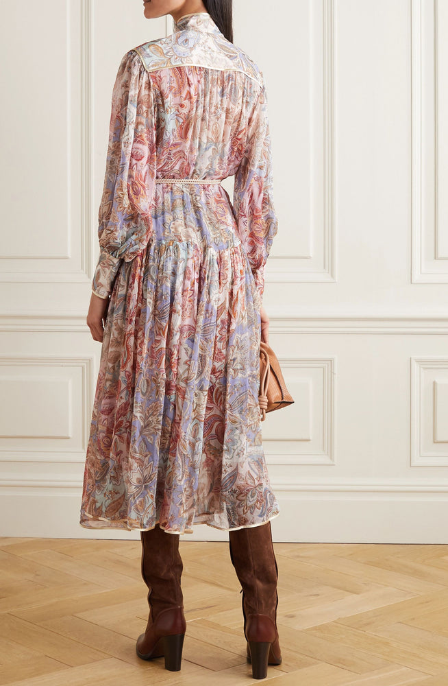 Lucky Bound Belted Satin-Trimmed Midi by Zimmermann