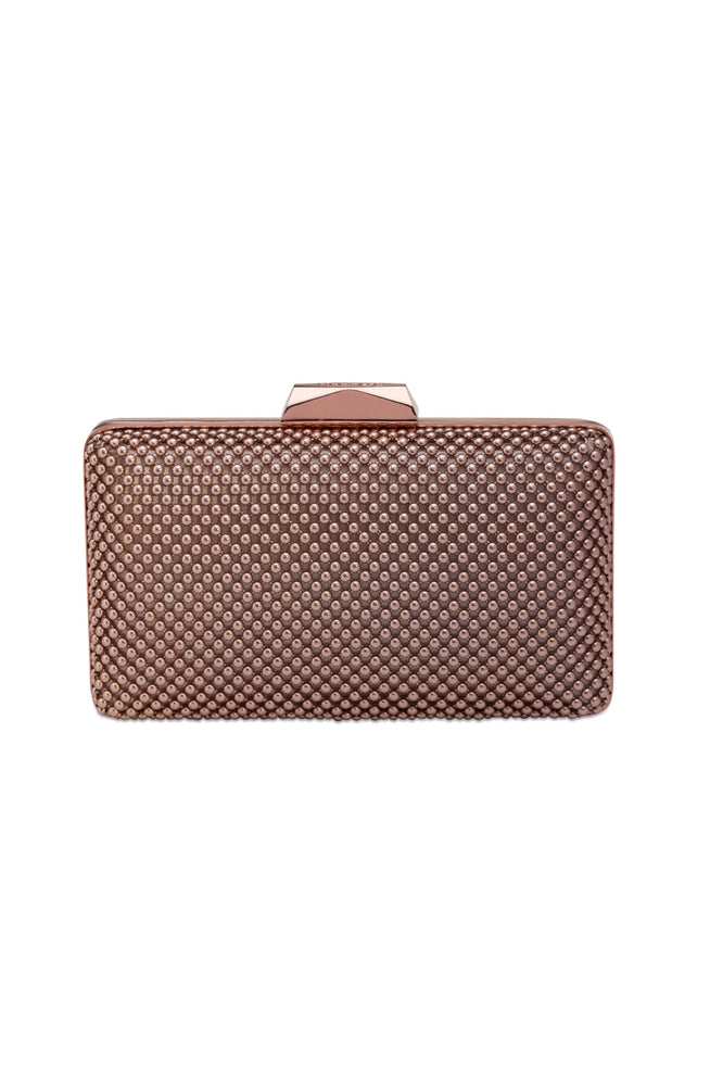 Natasha Rose Gold Ball Mesh Clutch by Olga Berg