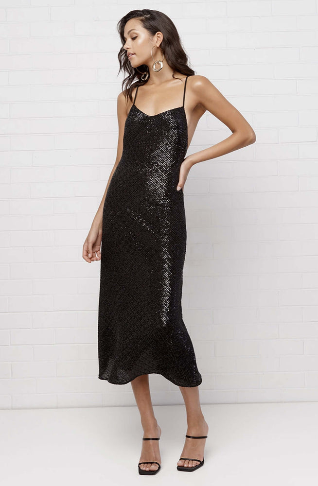Night Shine Cross Back Midi Dress By Johnny