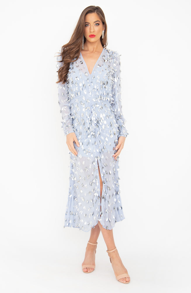 Corina Sky Blue Midi Dress by Rachel Gilbert