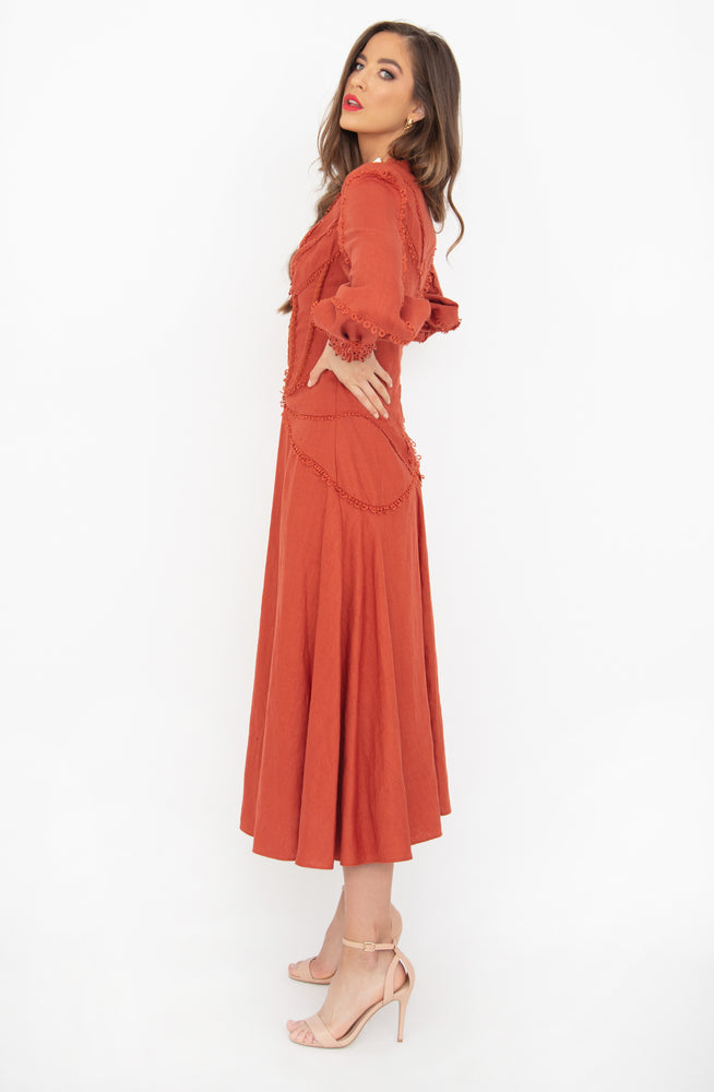 Greta Burnt Orange Midi Dress by Rachel Gilbert
