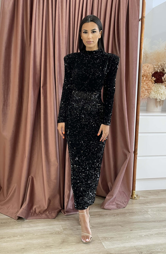 Vixen Sequin Midi Black by HSH