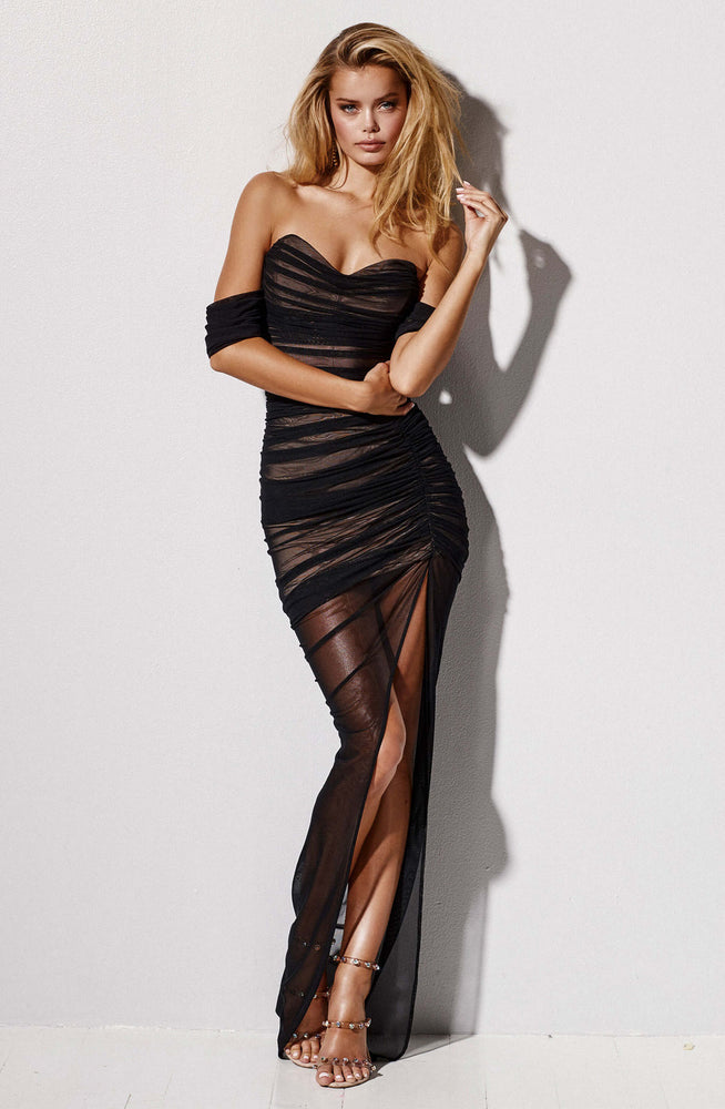 Dita Black Mesh Gown by Nookie