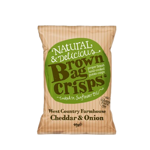 Brown Bag Crisps Cheddar Cheese & Onion 40g