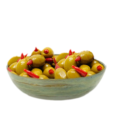 Load image into Gallery viewer, Green Olives stuffed with Piri Piri