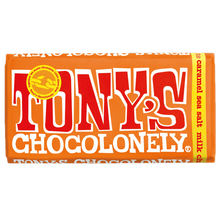 Load image into Gallery viewer, Tony's Chocolonely Milk Chocolate, Caramel & Sea Salt Bar (180g)