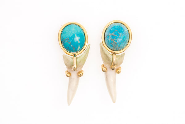 Shark Tooth And Turquoise Studs