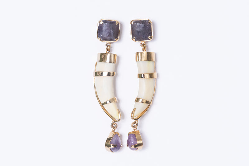 Cacho Tallado Earrings with Amethyst
