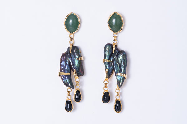 Gray Pearl Earrings - Jade Cabochon and Onyx teardrops