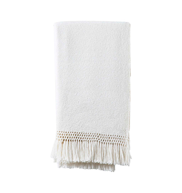 Baby Alpaca Fringe Throw - Ivory