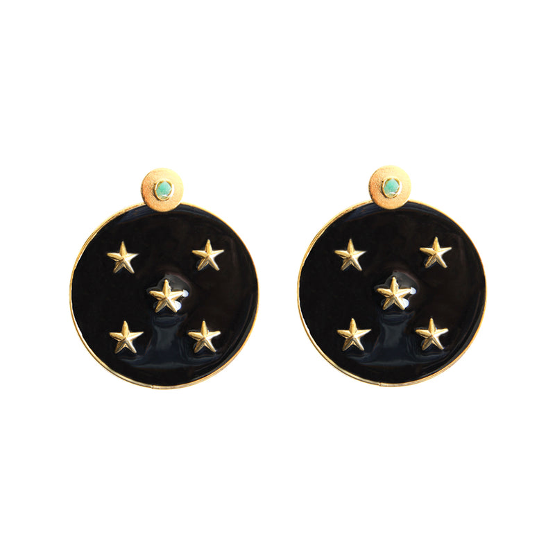 Lyra Black Earrings 2 In 1