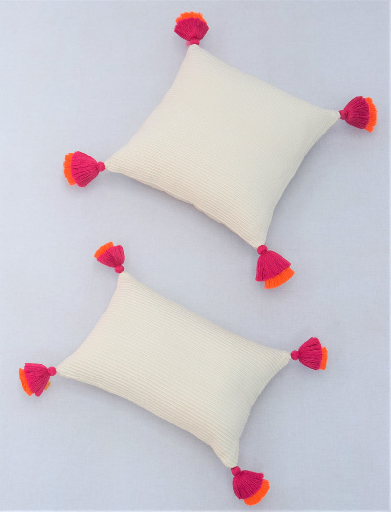 Pompom Ivory Lumbar Pillow Cover