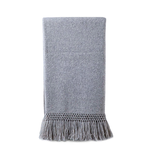 Baby Alpaca Fringe Throw Silver