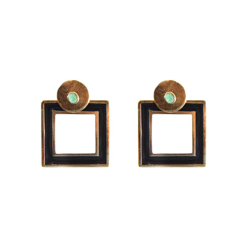 Square Black Earrings Small 2 in 1