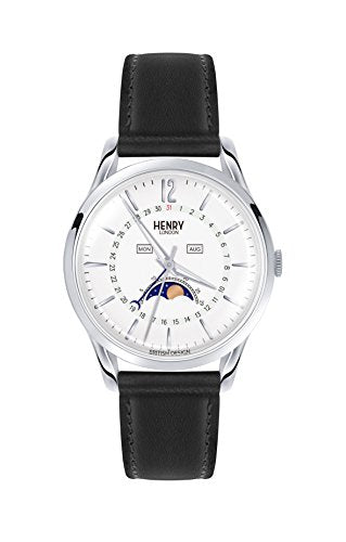 Henry London Women's Edgware 39mm Black Leather Band Steel Case Quartz White Dial Watch HL39-LS-0083