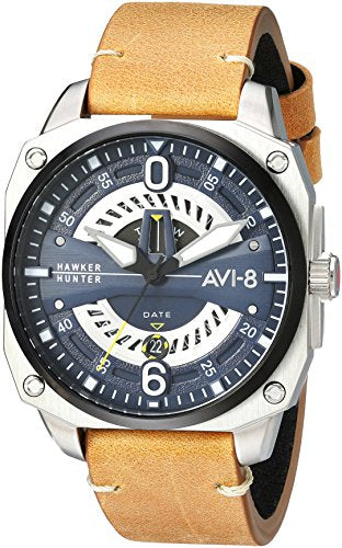 AVI-8 Men's Hawker Hunter Stainless Steel Japanese-Quartz Aviator Watch with Leather Strap, Brown, 21.7 (Model: AV-4057-02)