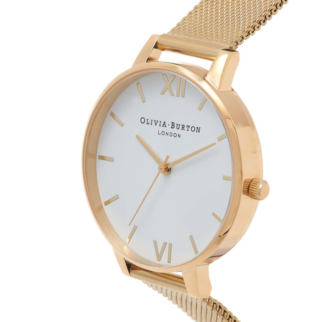 Olivia Burton Ladies White Dial Gold Mesh Watch OB15BD84