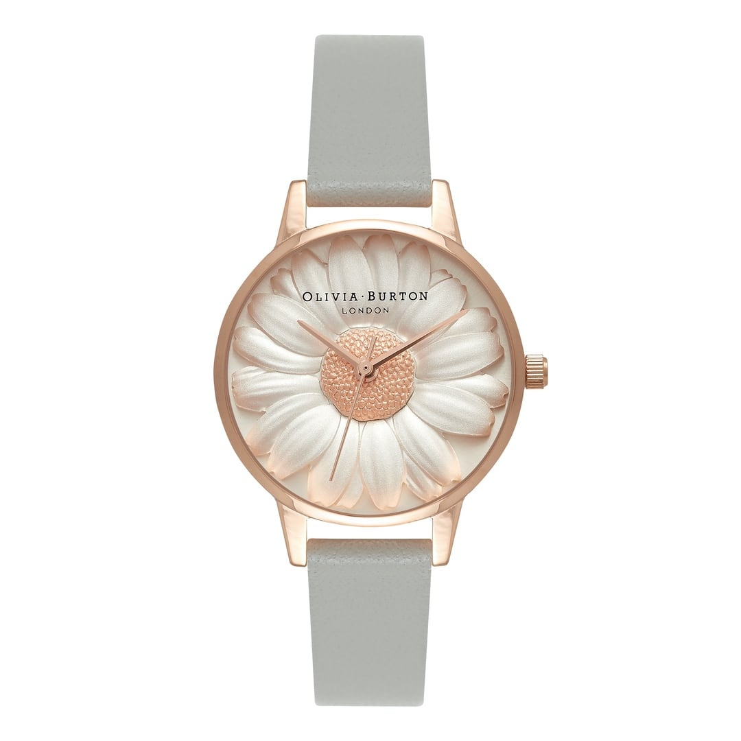 Olivia Burton Ladies Flower Show 3D Daisy with Grey Strap Rose Gold Watch OB15EG50