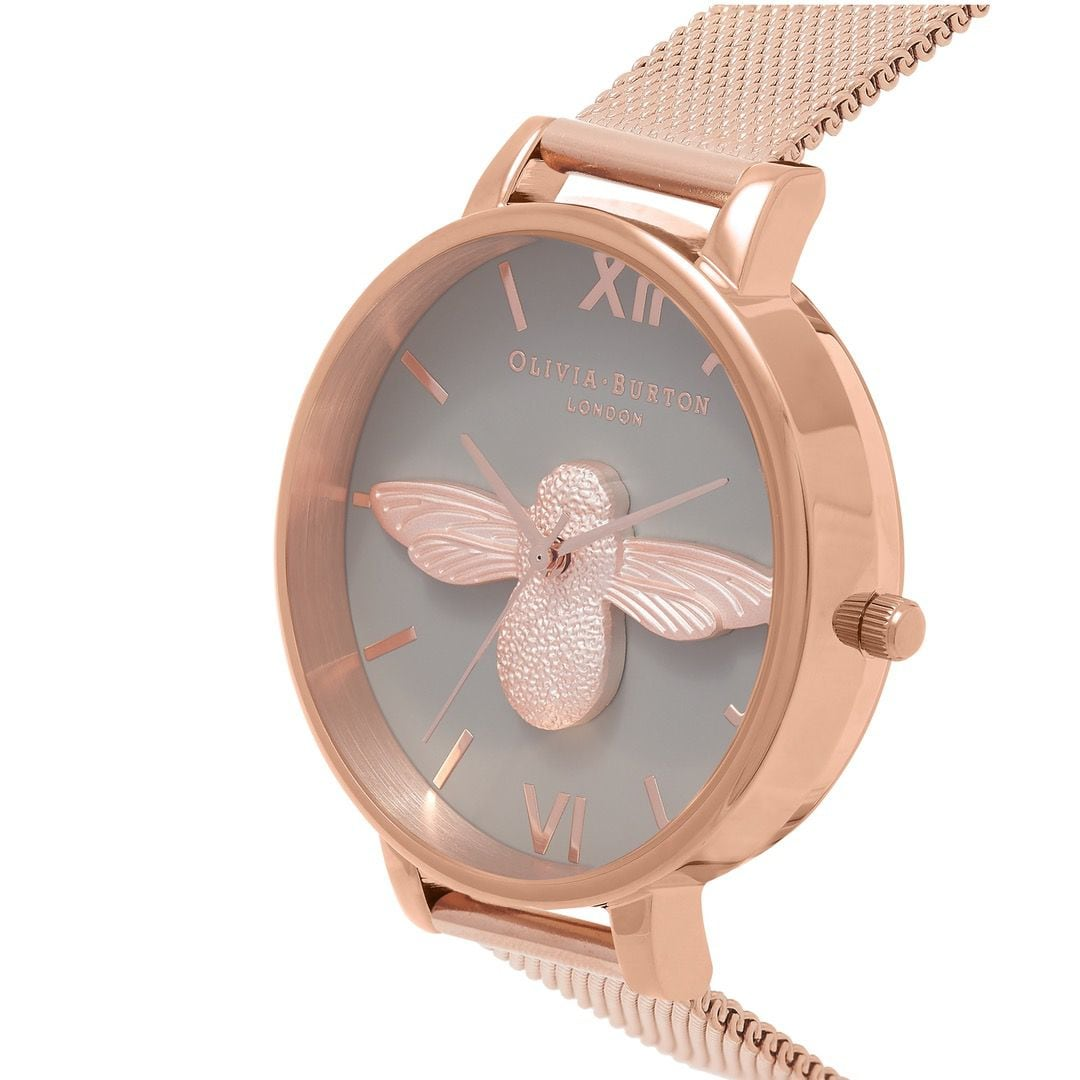 Olivia Burton Ladies 3D Bee with Rose Gold Ion Plating Mesh and Case Watch OB16AM117