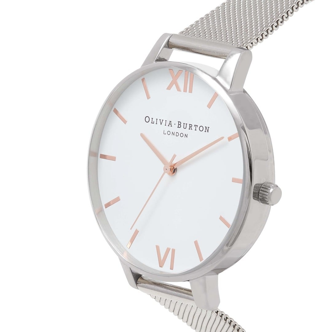 Olivia Burton Ladies White Dial Silver Mesh Watch OB16BD97