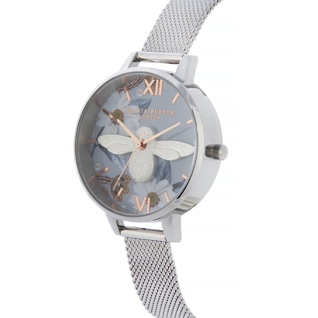 Olivia Burton Ladies Bejewelled Florals 3D Bee Demi Dial Silver Mesh Watch OB16BF18