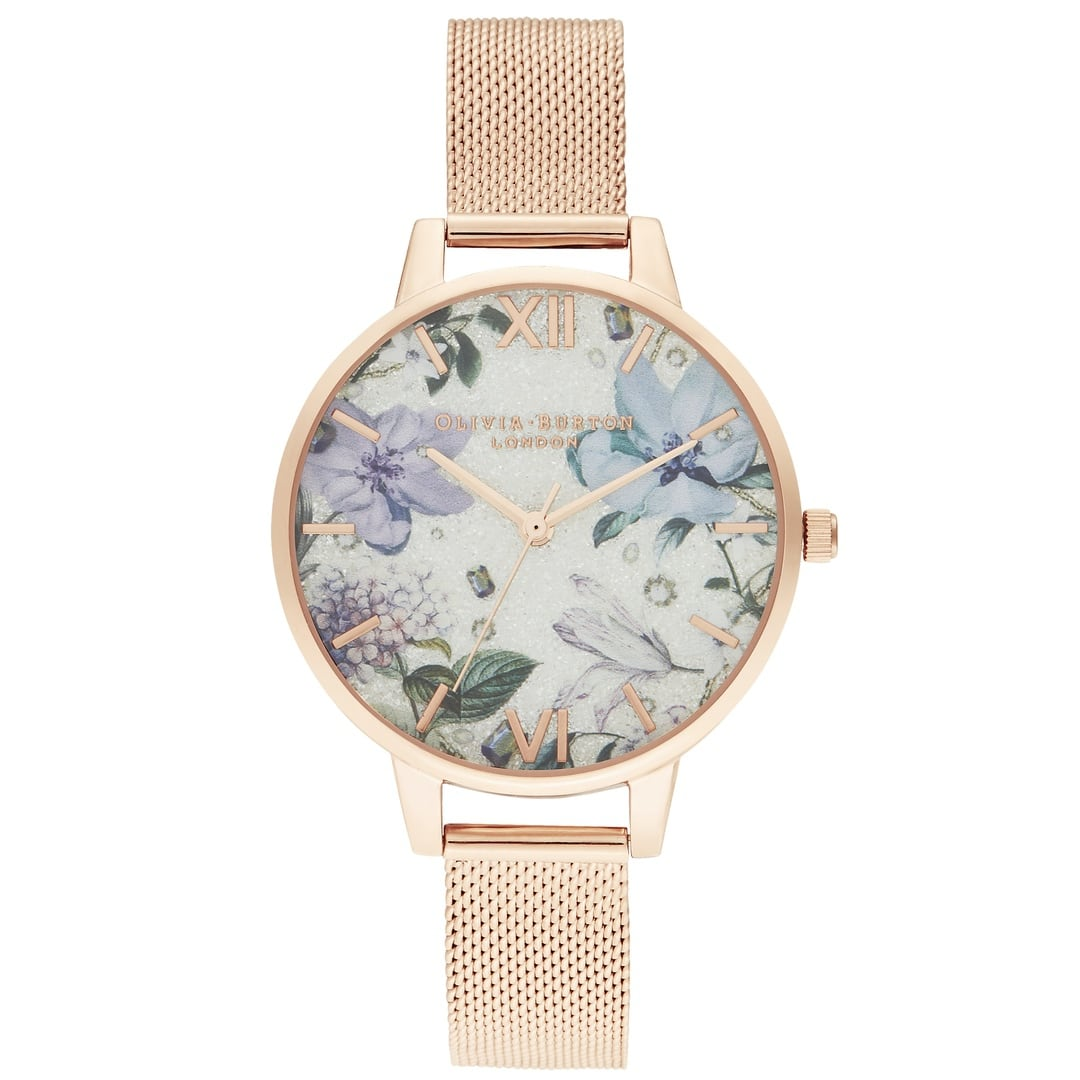 Olivia Burton Ladies Bejewelled Florals Silver Glitter Dial, Rose Gold Case & Mesh Watch OB16BF27