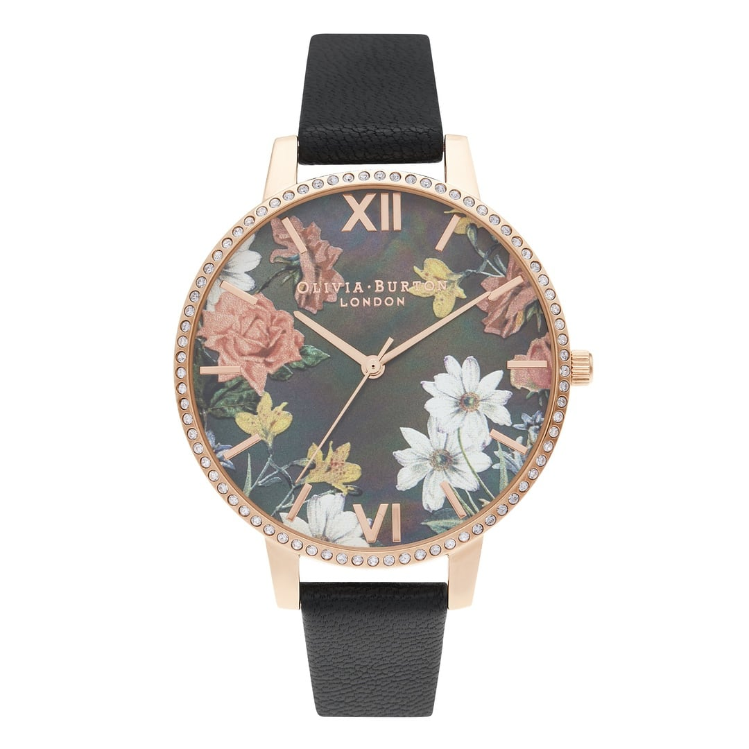 Olivia Burton Ladies Big Mother Of Pearl Dial Black & Rose Gold Watch OB16BF31