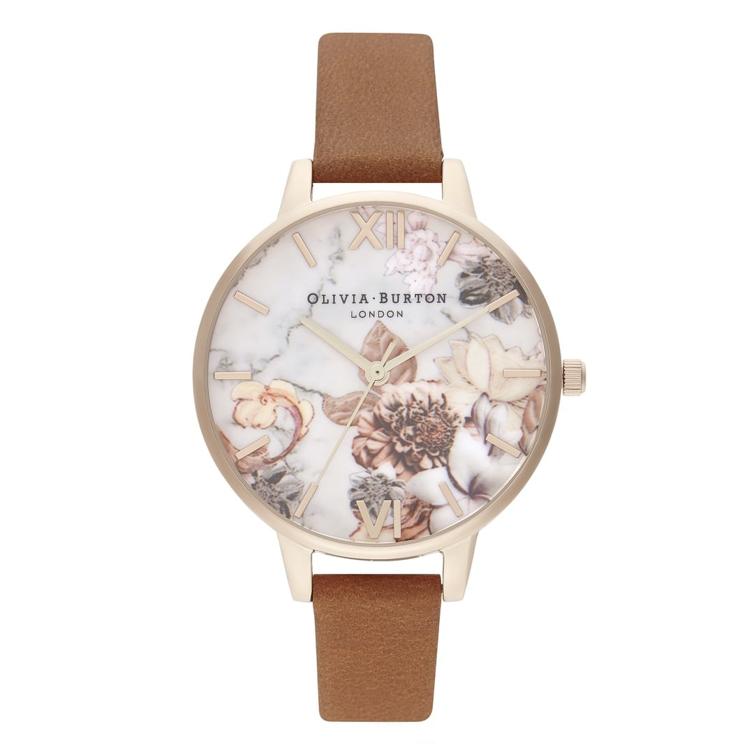 Olivia Burton Ladies Marble Floral Lilac Rose Gold Watch OB16CS30