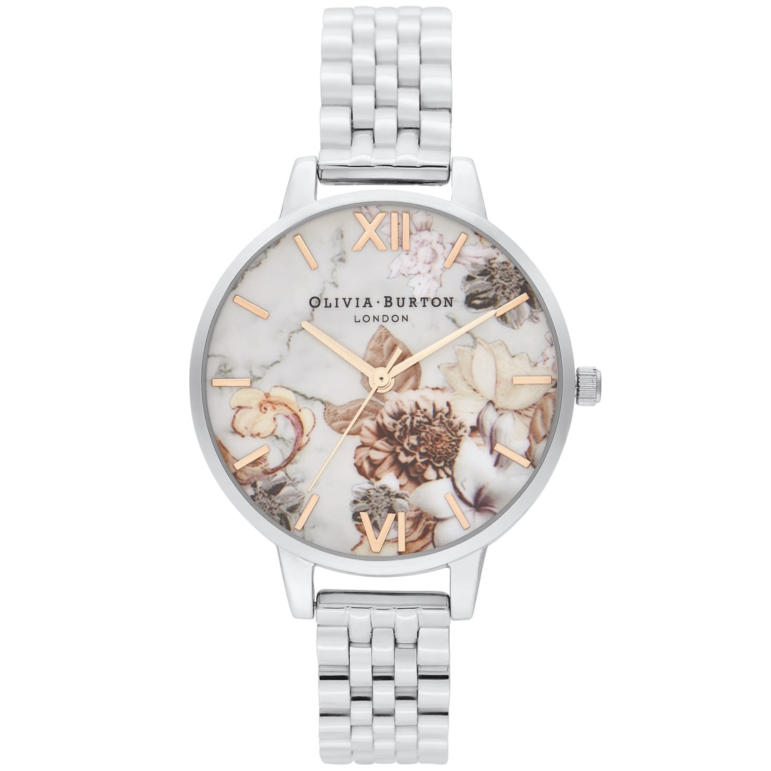 Olivia Burton Ladies Marble Florals Silver Case & Bracelet Watch OB16CS31