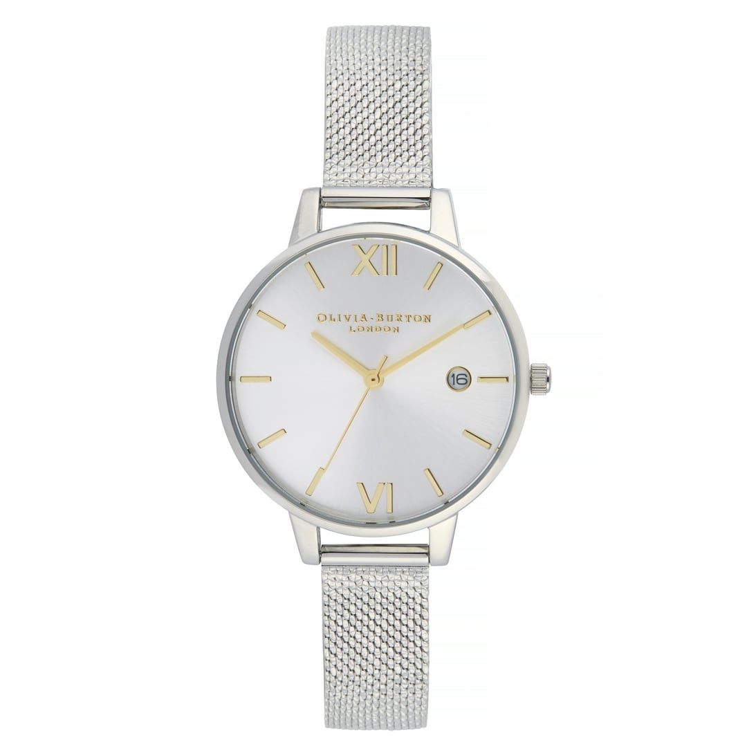 Olivia Burton Ladies Sunray Demi Date Dial with Silver Case & Boucle Mesh Watch OB16DE02
