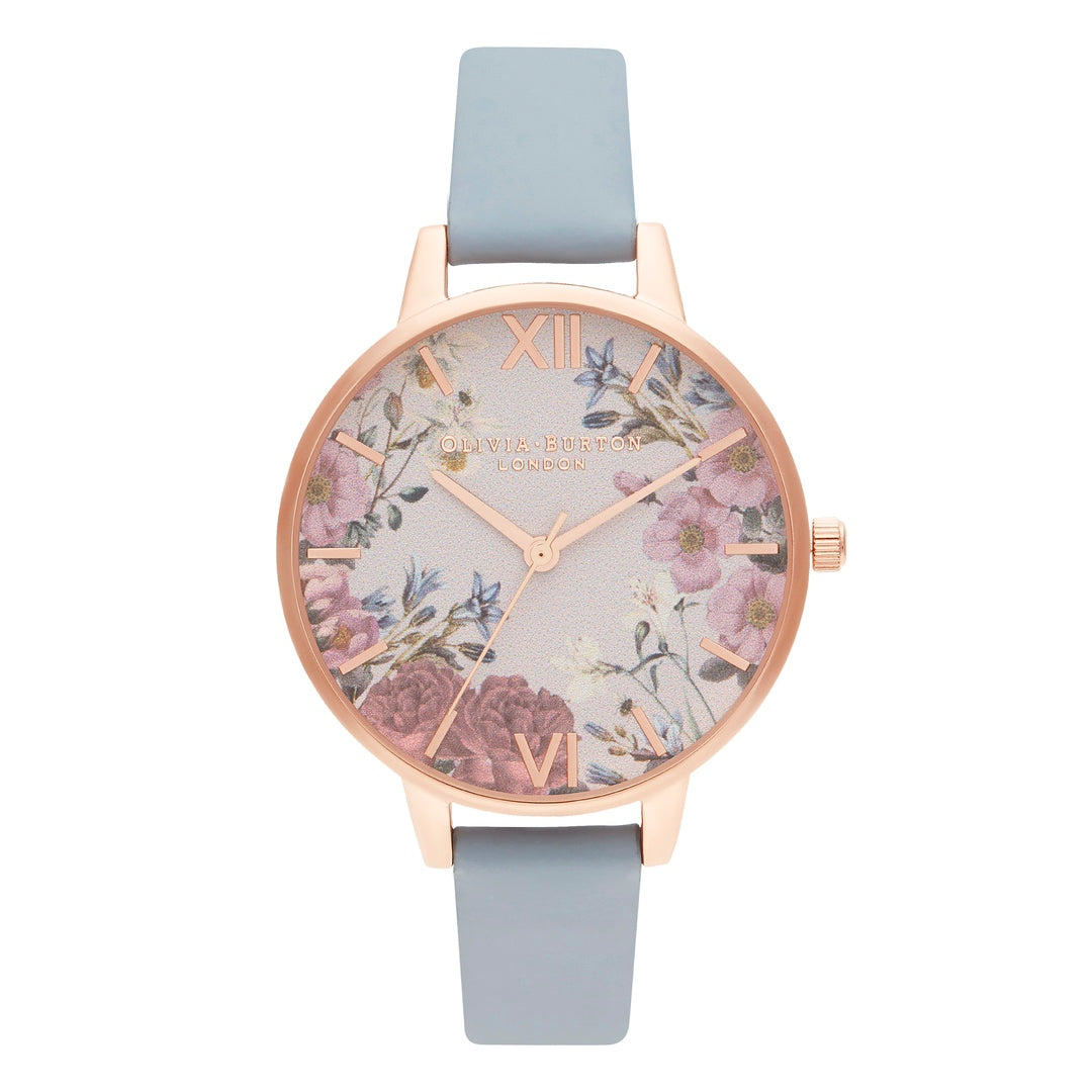 Olivia Burton Ladies British Blooms Blue with Chalk Blue Strap Rose Gold Watch OB16EG132