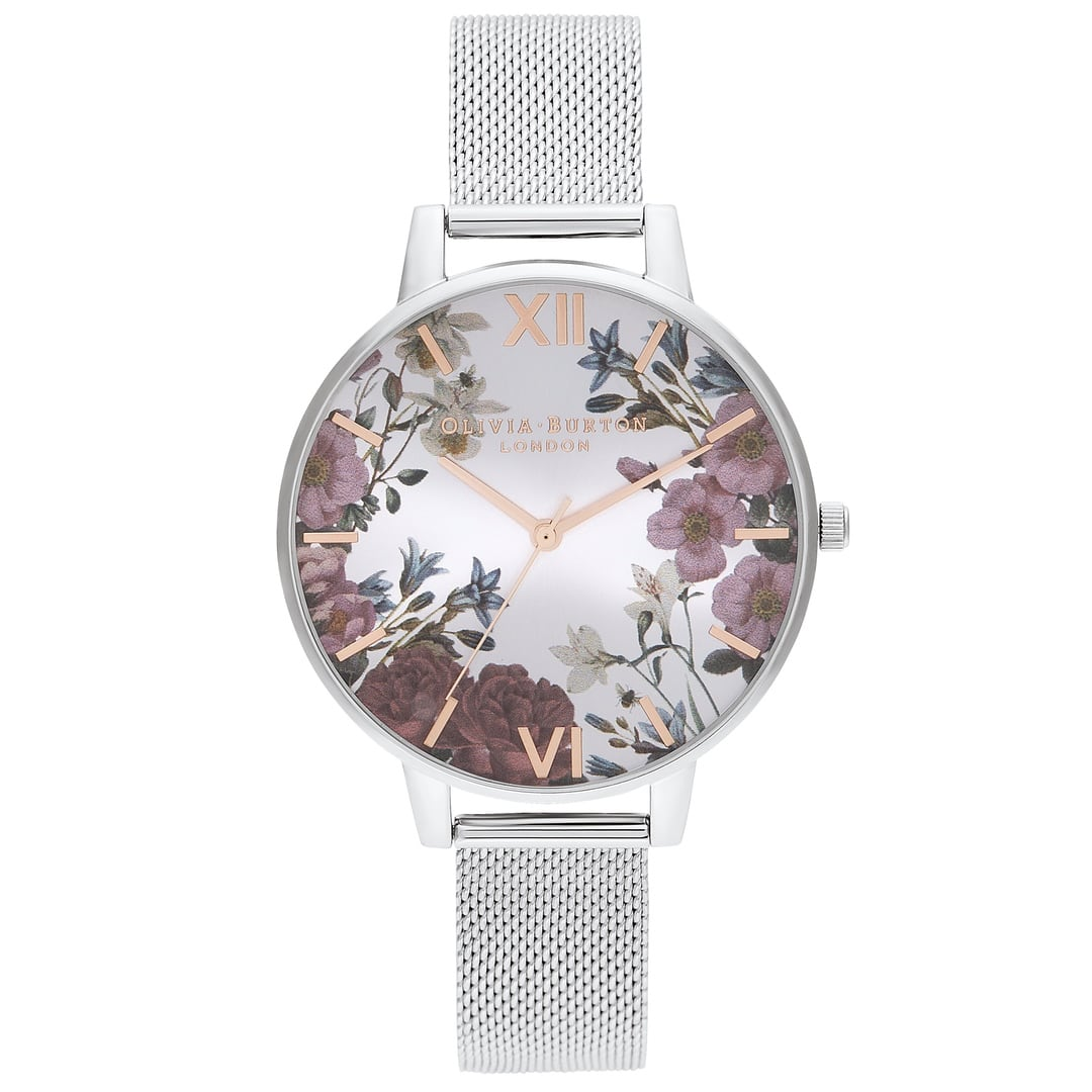 Olivia Burton Ladies Sunray British Blooms with Silver Mesh Watch OB16EG133