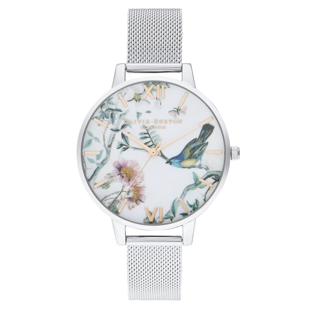 Olivia Burton Ladies White and Floral Painterly Prints with Silver Mesh OB16EG147