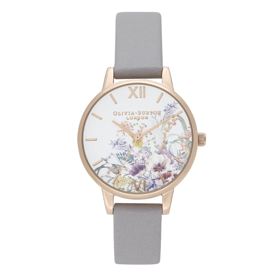 Olivia Burton Ladies Enchanted Garden with Grey Lilac Strap Rose Gold Watch OB16EG150