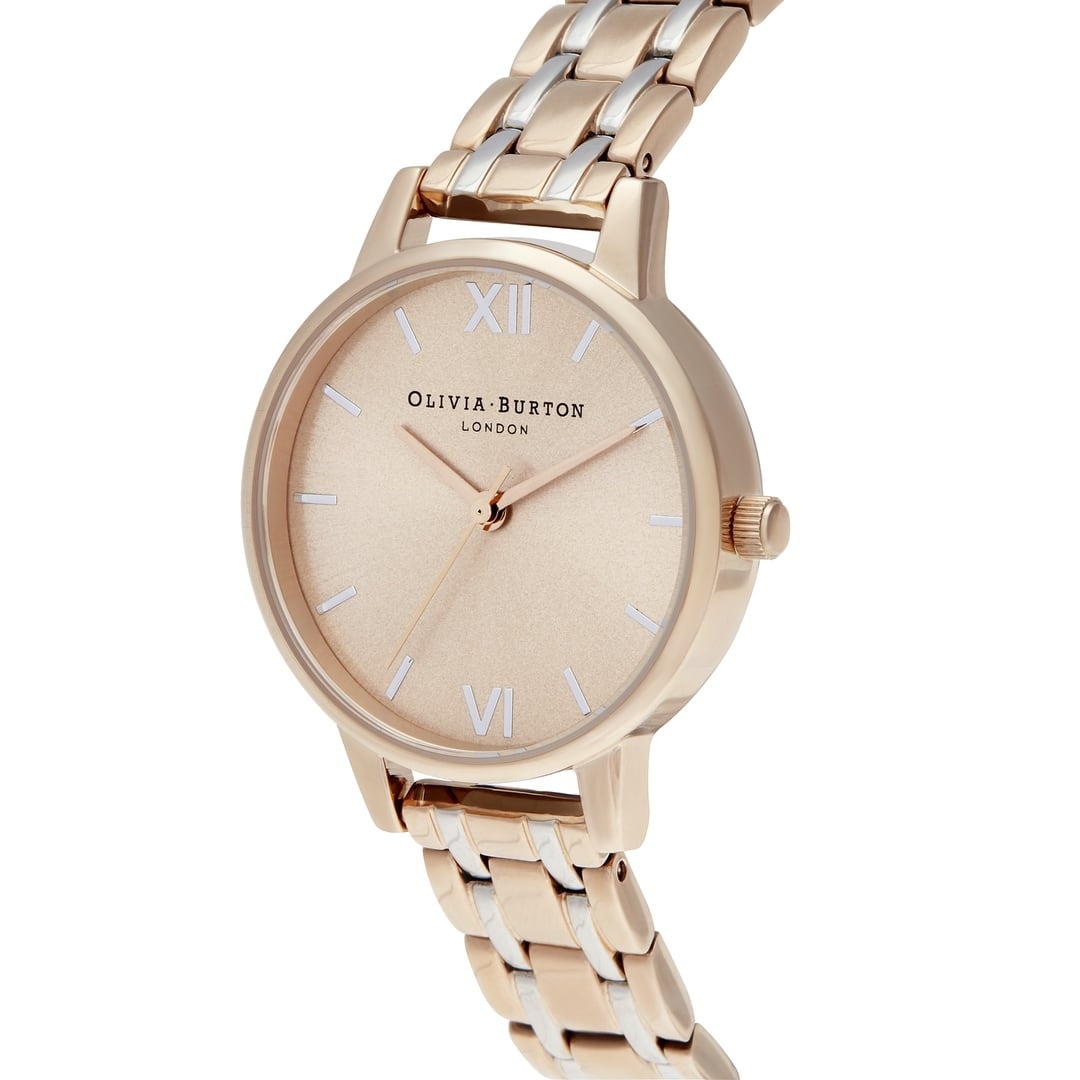 Olivia Burton Ladies Sunray Midi Dial with Pale Rose Gold & Silver Bracelet Watch OB16EN02