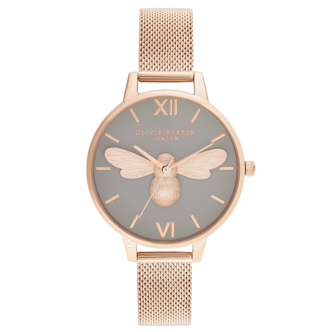 Olivia Burton Ladies Lucky Bee & Grey Dial with Rose Gold Mesh Watch OB16FB10