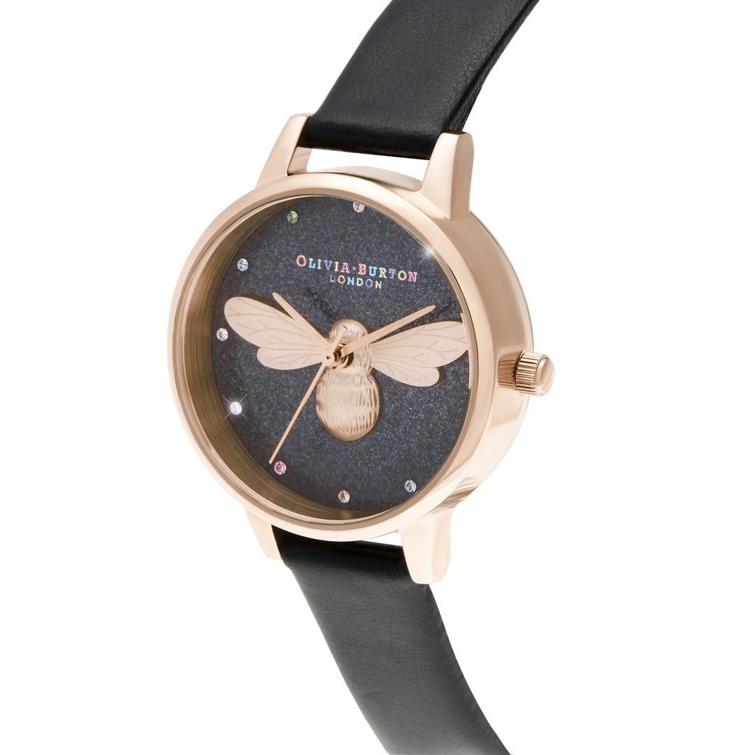 Olivia Burton Ladies Black Glitter Rainbow Lucky Bee, Vegan Strap Rose Gold Watch OB16FB13